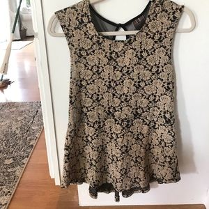 Moon collection beige and black lace top